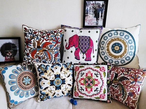 24 Styles Embroidery Cushions Covers 100% High-grade Cotton Cushion Cover Embroidered Bohemian Floral Flowers Birds Elephant Pillow Case