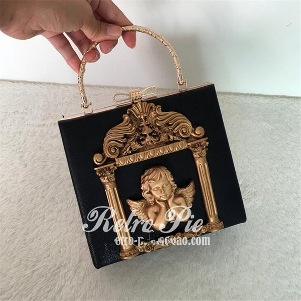 Wholesale- 2016 vintage styler Baroque angel women luxury handbag painted relief packets Metal bow tote bags ladies chains crossbody bag