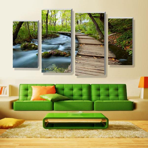 Acquista 4 Pannelli Imposta Bellissimi Paesaggi Cascata Pittura Fiori  Quadri Moderni Su Tela Artwork Stampa Immagine Personalizzata A 10 20 A  $24.83 ...