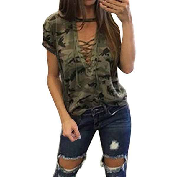 Women Tops Sexy Camouflage T-shirt Amry Short Sleeve Bandage Deep V Lace Up Fashion New T shirt Tees Casual Cotton Tshirt