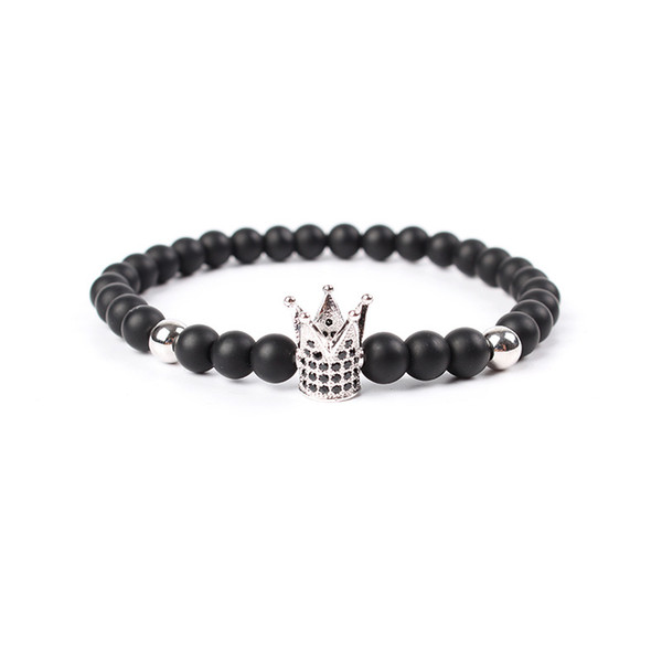 Hot Sale Micro Pave Black CZ Zirconia Gold Plated King Crown Charm Bracelet Dull Polish Matte Stone Bead Bracelets For Women