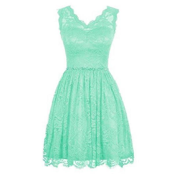 2017 menta encaje verde corto vestidos de dama de honor una línea con cuello en v cuadros verdaderos vestidos de dama de honor para bodas fiesta precio barato