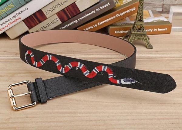 top popular Hot black color Luxury High Quality Designer Belts Fashion snake animal pattern buckle belt mens womens belt ceinture not with box 2019