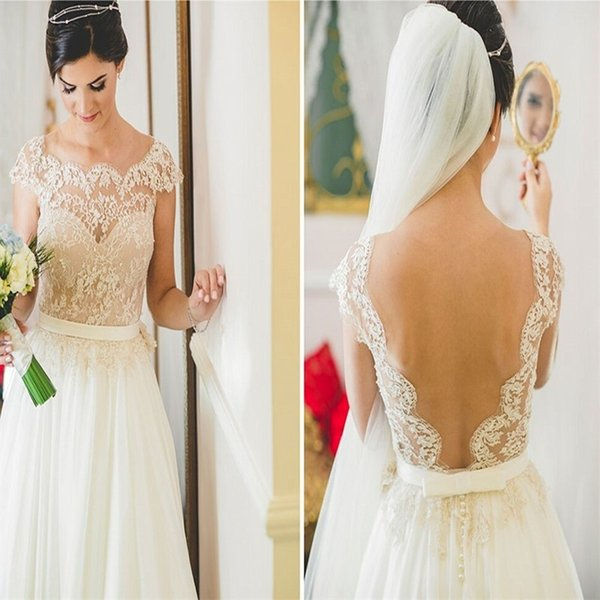 Vintage Beach Wedding Dress 2019 Romantic Chiffon Sheer Neck Short Sleeve Lace Vestido De Noiva Summer Open Back Boho Bridal Gowns
