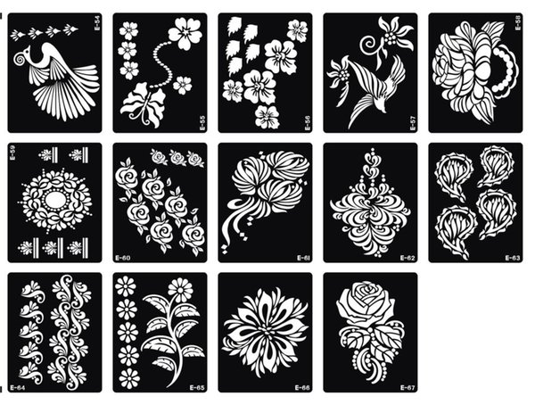 Wholesale-Free Shipping 200pcs Big Size Temporary Tattoo Stencil 18.5*9.5CM,15*12 CM - For Airbrush / Glitter Tattoo / Body Painting