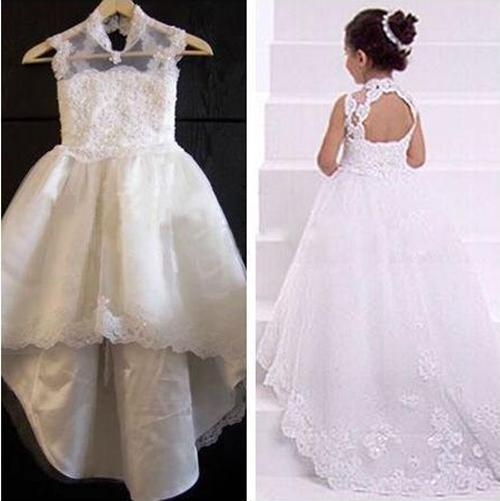 Snow White Lace Girl's Pageant Dresses 2017 Cute High Neck Appliques Skirts Hi-Lo Flower Girls Dresses with Beads Custom
