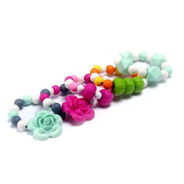 100% BPA Free Food Grade DIY Silicone Baby Chew Beads Teething Bracelet Flower Nursing Bracelet Jewelry Teether for Mom Mommy to Wear