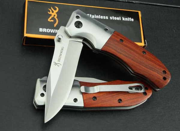top popular Browning DA51 Fast Open Tactical Folding Knife Wood Handle 3Cr13Outdoor Camping Hunting Survival Pocket Knife Utility EDC Tool Collection 2020