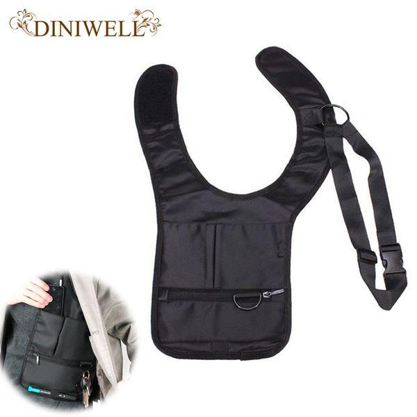 Wholesale- DINIWELL Novelty Cool Mens Travel Storage Bag FBI Hidden Underarm Pocket MP3 Passports Mobile Phone Organizer