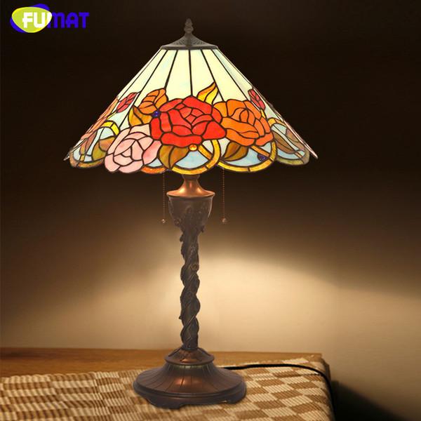 Tiffany Tischleuchte Antike Kunst Dekor Rose Wohnzimmer Tisch Lampe LED Buntglas Bro Studio Stand