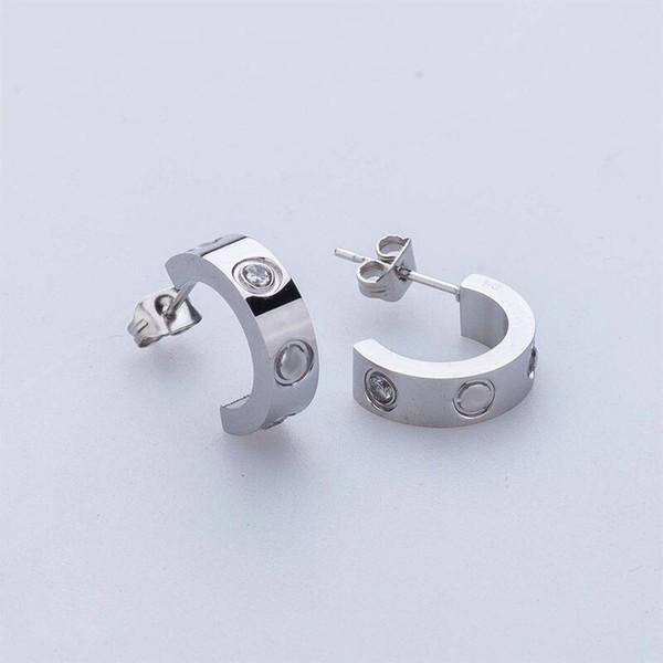 top popular Lady fashion 316L Stainless Steel love stud earrings with screw crystal earrings for women men Couples fine jewlery wholesale 2021
