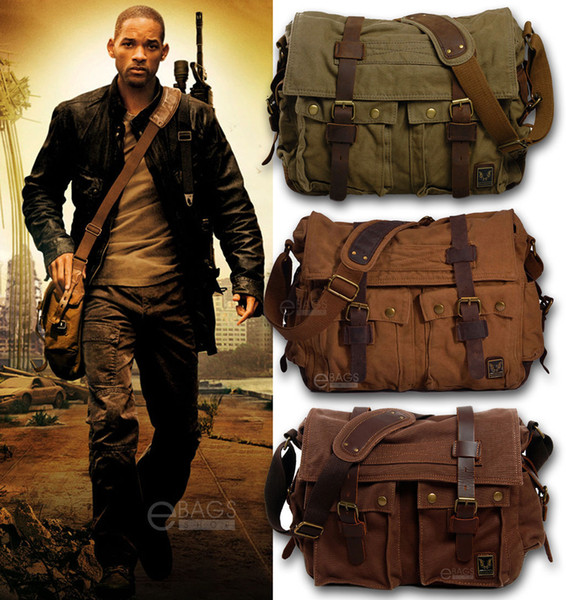 men's vintage canvas leather military x-large 15 lapshoulder messenger bag crossbody satchel outdoor school bags tactical bag