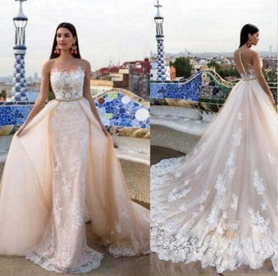 Modest Mermaid Lace Wedding Dresses With Detachable Train Milla Nova Appliqued Sexy Sheer Neckline Beads Trumpet Bridal Gowns
