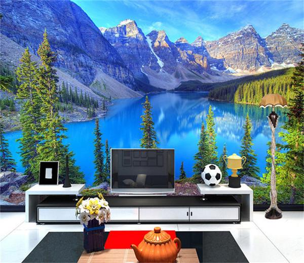 Custom 3D Photo Wallpaper Room Mural Mountain Peak Park Landscape Living Room Wall Mural Painting Wallpaper Papel De Parede 3D