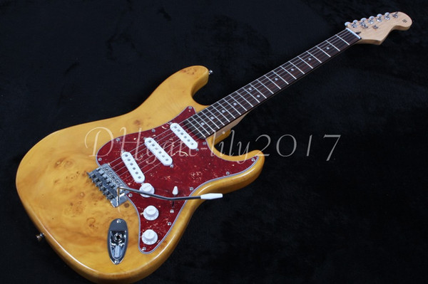 Factory store nature wood Paint yellow signature fretboard 6 string golden Hardware Electric Guitar