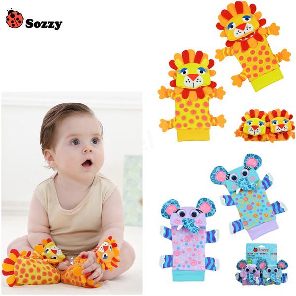Venda por atacado- Mais novo 4pcs / lot (4pcs = 2 pcs cintura + 2 pcs meias) / lot, chocalho do bebê brinquedos Sozzy bug jardim chocalho e meias de pé