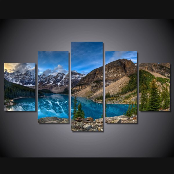 5 Pcs/Set Framed HD Printed Mountain Lake Picture Home Decor Canvas Poster Cheap Abstract Oil Painting