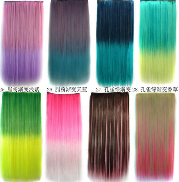"best selling 22"" Colorful Clip in Hair Extensions One Piece Women Long Straight Ombre Clip on Hair Extension Hairpiece One Piece 5clips 115G"