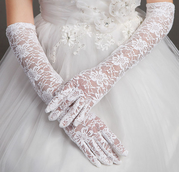 2017 New Cheap Lace Bridal Gloves Elbow Length Red/Black/Beige/White Wedding Dresses Accessories full finger