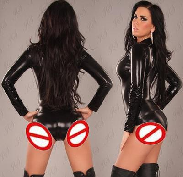 best selling New Sexy One-piece Bodywear Metallic luster Faux Leather Jumpsuit Clubwear Sexy Woman Lingerie Z3023