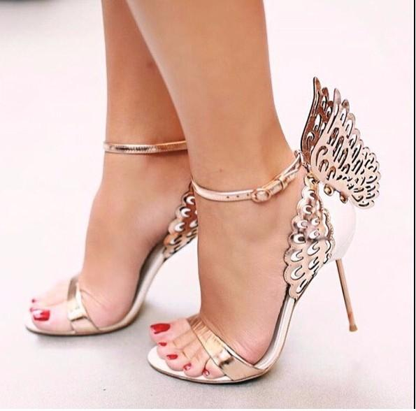 Wing Butterfly Sandals Women Shoes Patent leather High heels Cover heels Party Pumps Sweet Amazing Sandalias Real Pics Size 42