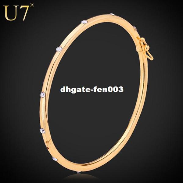 U7 Cristal Conception Simple Bracelets Pour Femmes Bracelets Avec Strass Plaqué Or Bijoux Bijoux Cadeaux À La Mode Bracelets Bracelets H3016