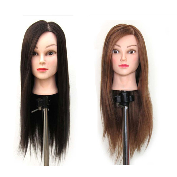 COOLHAIR4U 22'' Brown Hair Hairdressing Cosmetology Practice Training Human Head Mannequin + Clamp Cosmetology Mannequin Head Free Shipping