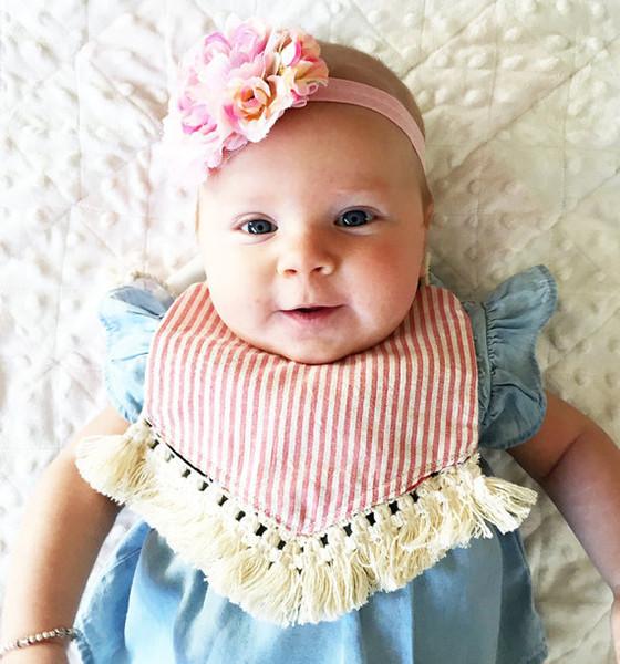 En Çok Satan Erkek Bebek Kız Önlüğü Çiçek Püskül geğirmek Çocuklar Önlüğü Geğirme Ekose Bandana Önlükler Çocuk Su Geçirmez Önlük