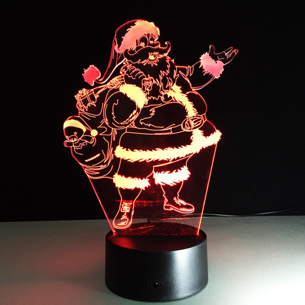 Babbo Natale 7 colori lampada 3d visive luci notturne a led per bambini Touch Usb Sleeping Nightlight regalo di Natale