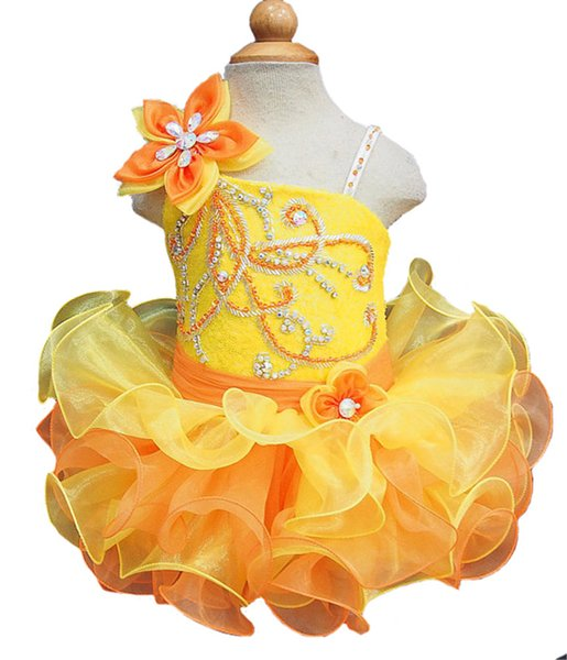 Yellow Sequined Glitz Girls Pageant Cupcake Dresses Infant Tutu Gowns Toddler Baby Girls Corset Back Mini Pageant Dress