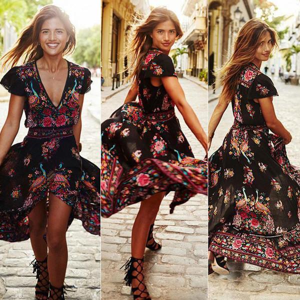 Sexy V Neck Floral Printed Long Bohemian Dress Short Sleeve Split Casual Folk-custom Vintage Beach Dresses