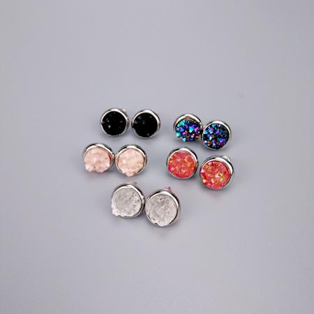 stone us amp and ball earrings silver stud tone icing glass