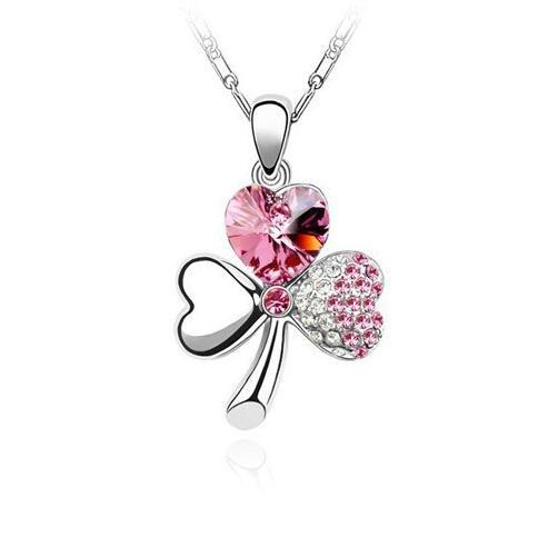 Free shipping Austrian crystal sweet clover necklace female short paragraph ornaments WFN104 (with chain) mix order 20 pieces a lot