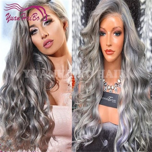 Celebrity 24inch gray peruvian remy hair loose wave glueless full lace wig natural hailine free shipping