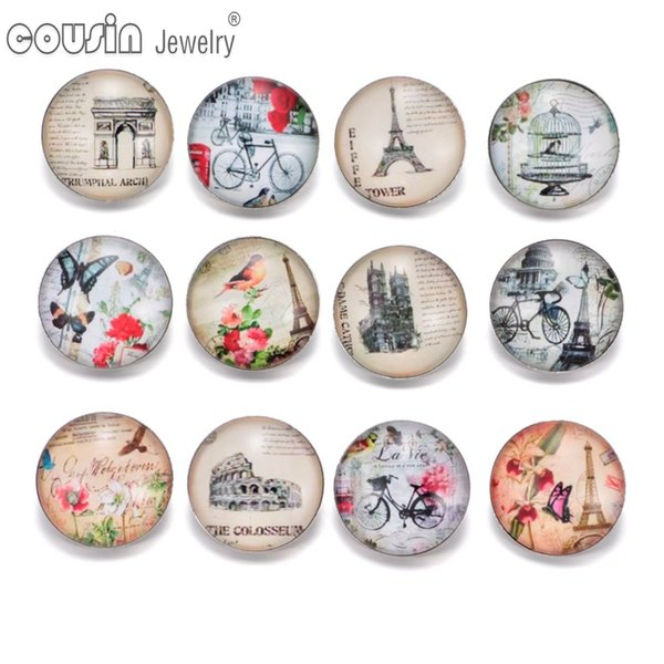 KZ0336 12pcs/lot Eiffel Tower 18mm Snap Button Jewelry Faceted Glass Snap Fit DIY Bracelet Interchangeable Ginger Snaps Jewelry