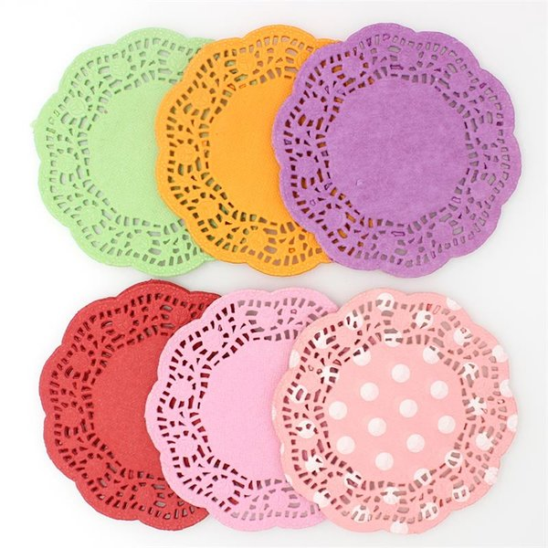 """Wholesale- 4.5""""Mixed Colors Lace Paper Doilies/Placemats for Wedding Party Decoration Supplies Scrapbooking Paper Crafts"""
