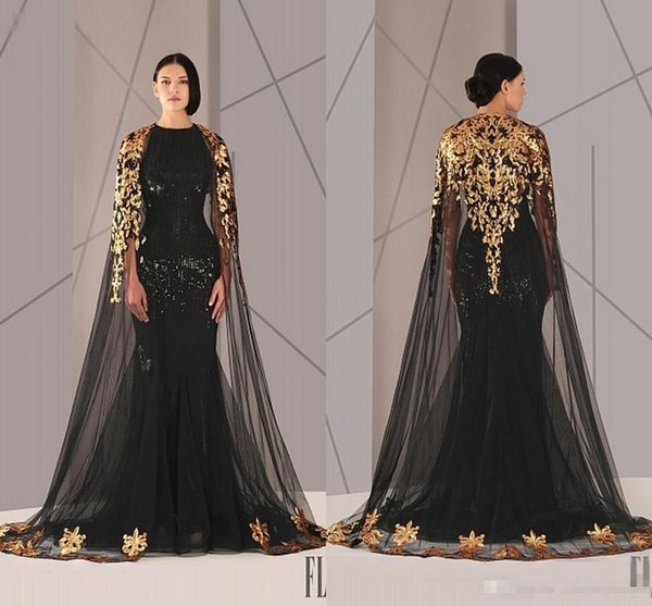 Black Arabic Muslim Evening Dresses Tulle Cloak Gold and Black Sequins Crew Neck 2017 Plus Size Mermaid Formal Wear Long Pageant Prom Dress