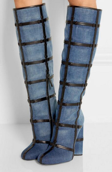 2017 Women Knee High Gladiator Boots Under Knee Thick Heel Denim ...
