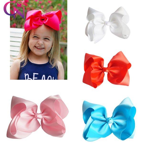 60 цветов 8 дюймов большой 8 дюймов бантом волос Лук сплошной цвет на Аллигатор клип для девочек дети головные уборы партии поставки оптом