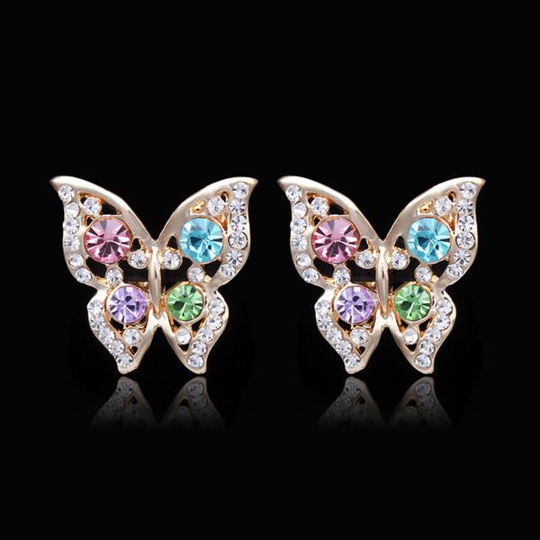 top popular XS High Quality Crystal No Ear Hole Clip On Earring For Women Girl Gift Cute Butterfly Shape Earrings MY003 2019