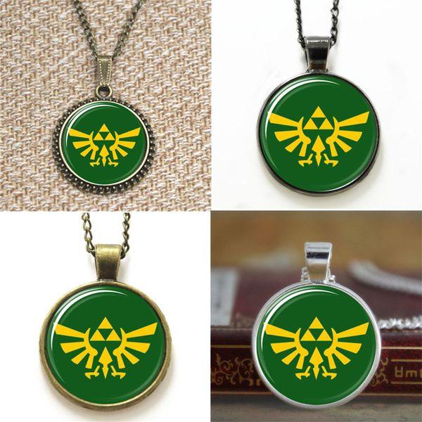10pcs Legend of Zelda Triforce Logo Green and Yellow Necklace keyring bookmark cufflink earring bracelet