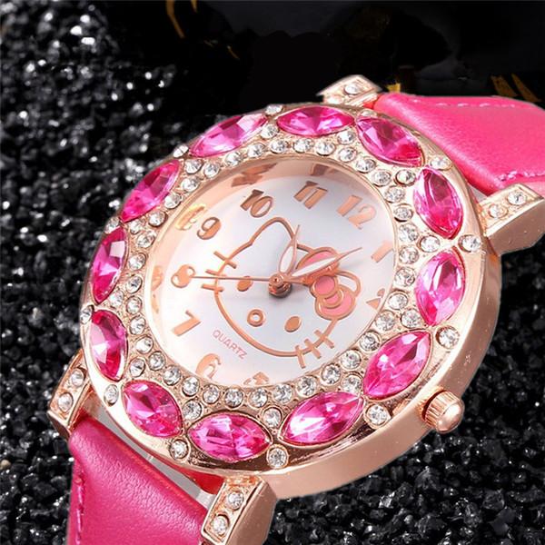 Bambini di lusso KT Cat orologi Donna Ladies Diamond strass orologi da polso Casual bambini studenti ragazze Dressing Watch