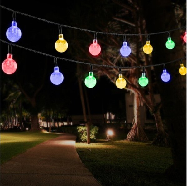 7M 50LED 2.4cm Bubble Ball Led Solar String Light , Exterior Lighting Strings Round Ball Decorative String Lights for Pool/Yard/Garden/House