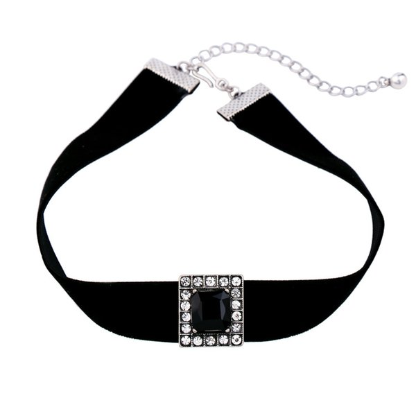 2017 New Hot Fashion Jewelry For women Cheap Jewelry Retro vintage Choker Black Gem Stone Diamonds Black Velvet Choker Wholesale NICE