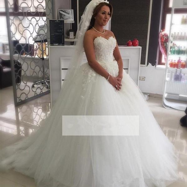 Latest Design Puffy Tulle Plus Size Wedding Dresses Sweetheart ...