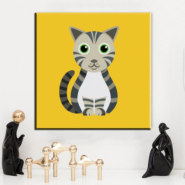 ZZ2078 Original Bonito dos desenhos animados gato Animal de Estimação Impressão de Animais Imagem Animal Crianças Pintura Da Lona Arte Da Parede Da Lona Presentes Sem Moldura pinturas arte