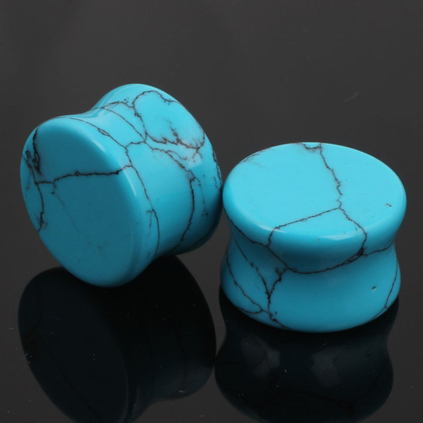 best selling Turquoise Stone Saddle Ear Gauges Ear Plugs Flesh Tunnels 5-16mm body jewelry solid ear stretcher expander