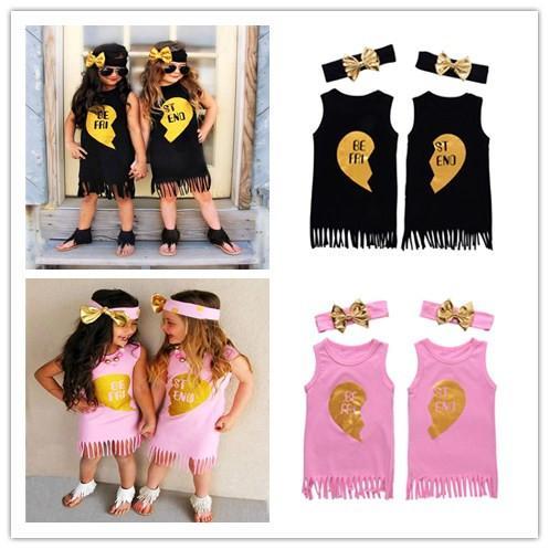 Acheter Mikrdoo 2017 Mode Mini Bff Lettres Robe Enfants D été Filles Tassel Coton Robes Bébé Fille Sans Manche Frange Enfants Princesse Robe