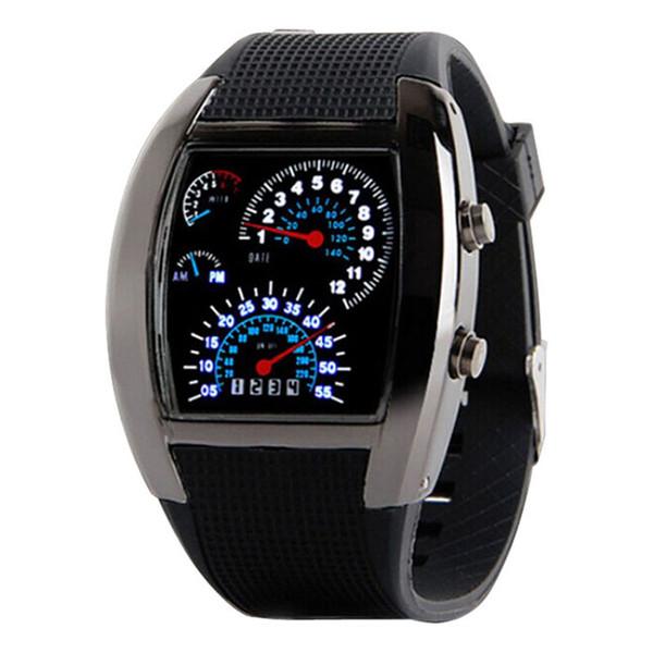 Wholesale- 2016 Top Brand Fashion Mens Womens Aviation Turbo Dial Flash LED Watch Gift Sports Car Meter Sporting Styles Clock Reloj Deporte