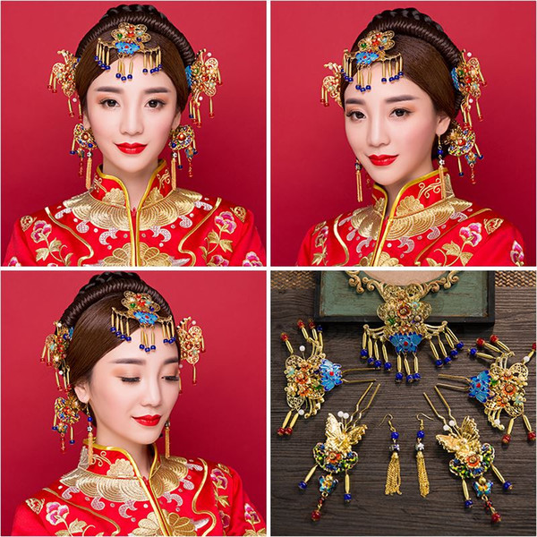 Woman headdress hair Lomen bride headdress Costume Blue and white porcelain beads show Chinese wedding clothes hair ornaments suit 6210795 w
